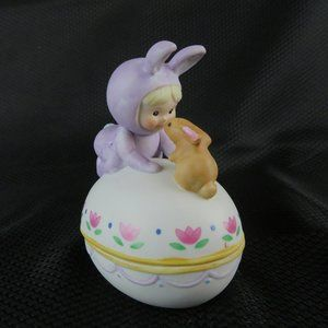 Easter Egg with Baby in Bunny Costume and Rabbit